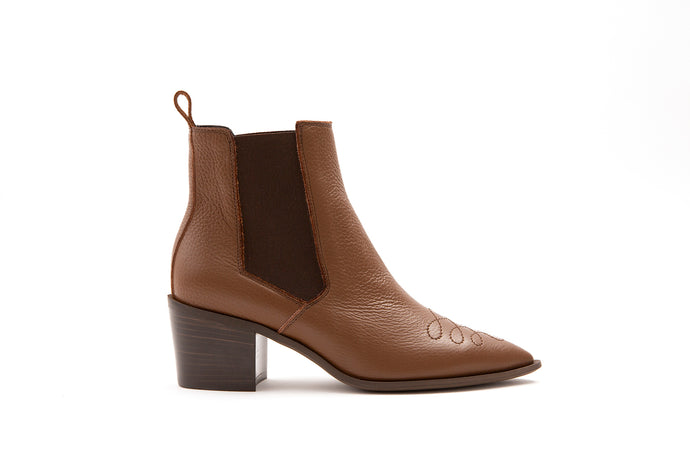 Maison Bedard leather ankle cowboy boot brown