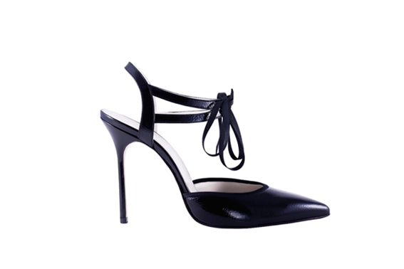 ELLE Ankle Tie Pump | Black Patent