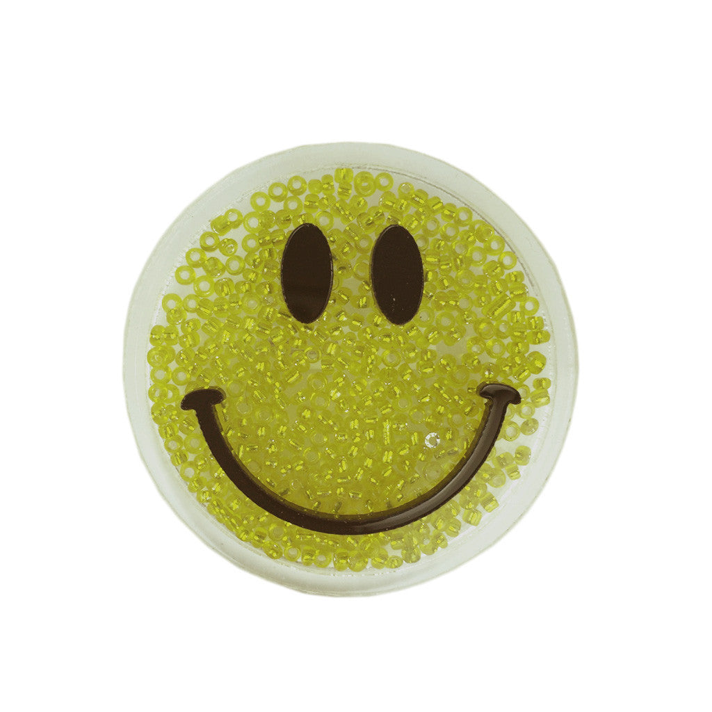 Bead-Filled Happy Face Brooch - Bon Flare Ltd.