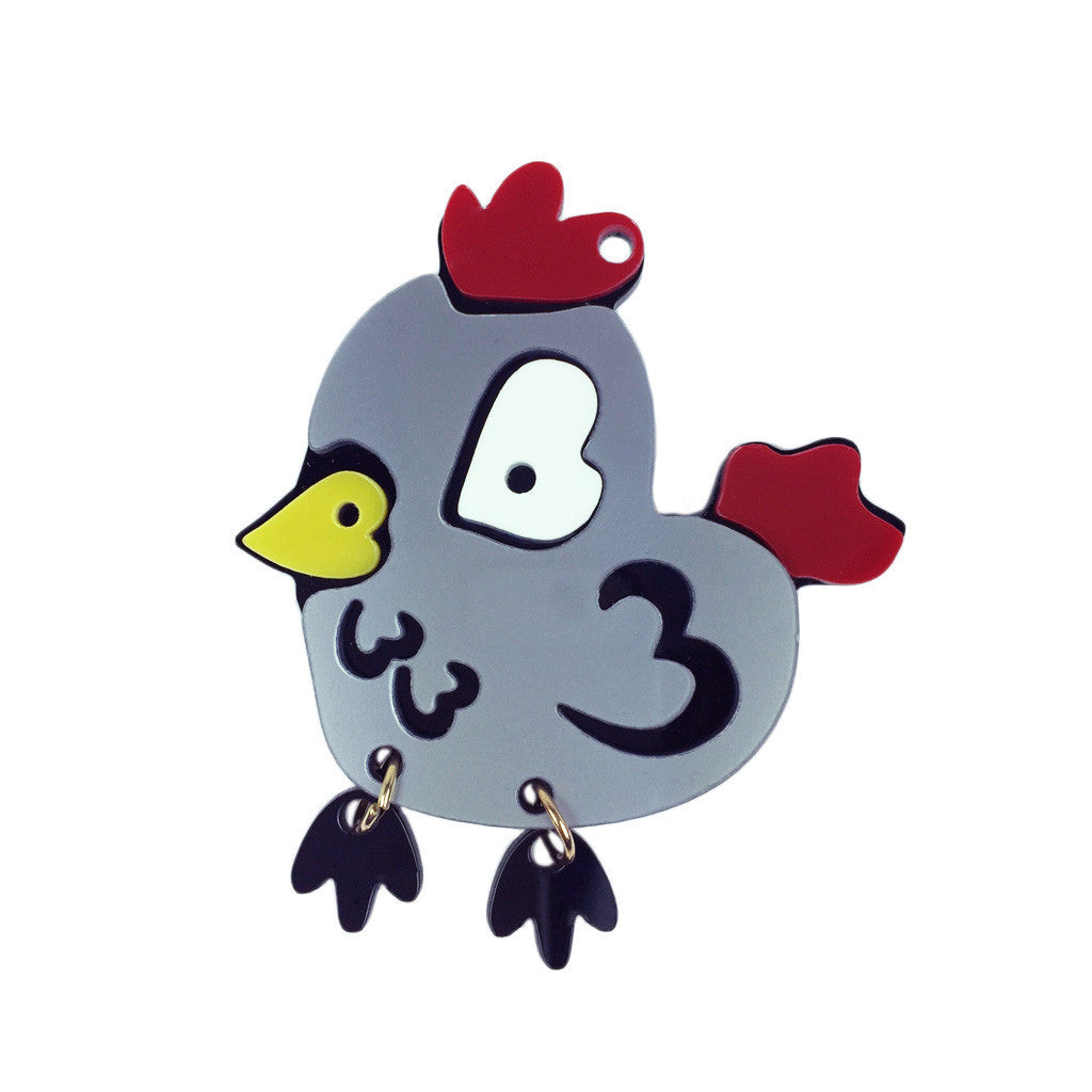 Chicken With Hanging Feet Brooch - Bon Flare Ltd.
