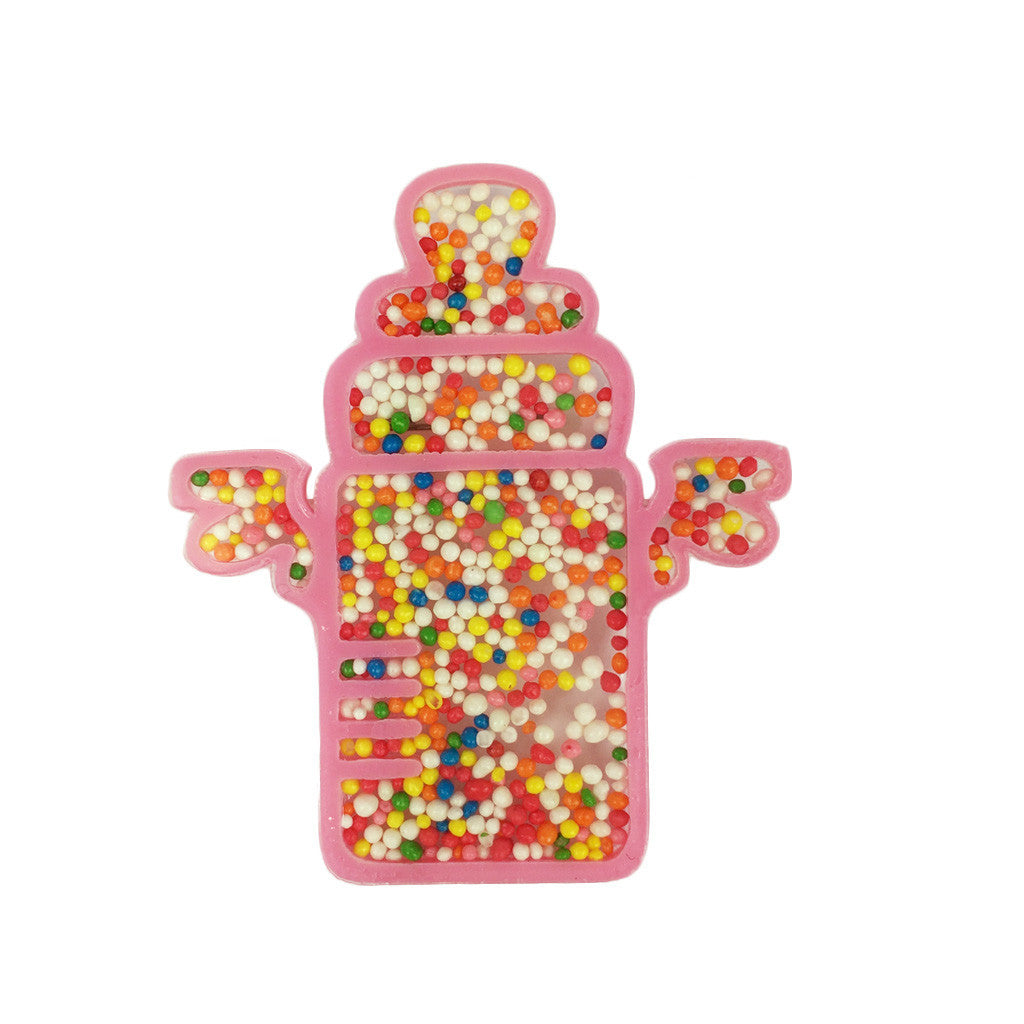 Bead-Filled Milk Bottle Brooch - Bon Flare Ltd.