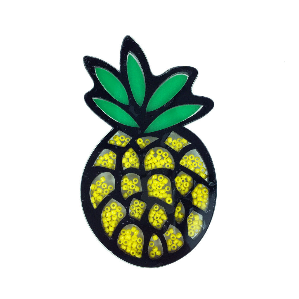 Bead-Filled Pineapple Brooch - Bon Flare Ltd.