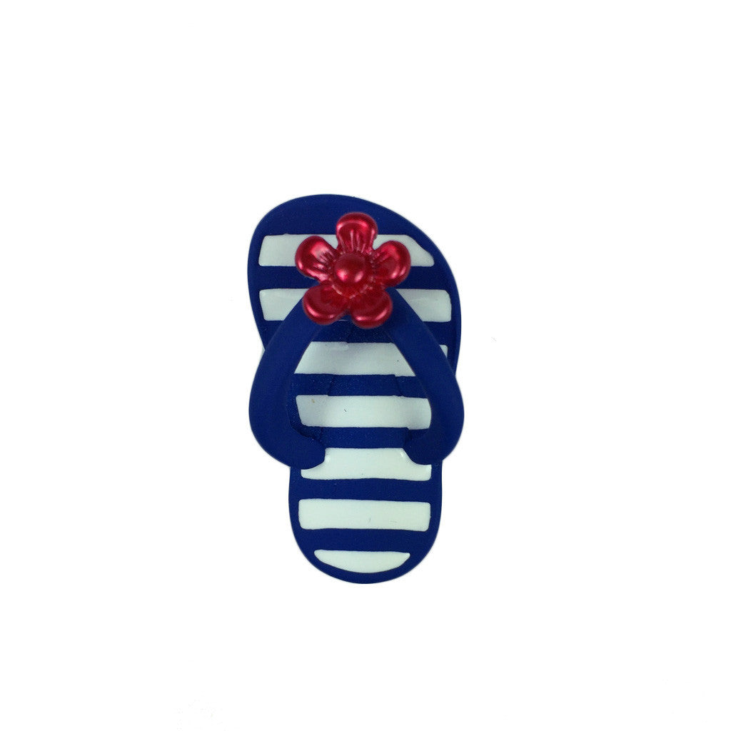 Stripy With Flower Flip Flop Pin - Bon Flare Ltd.