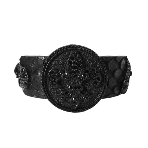 Fleur-De-Lis Crest Shield Leather Bracelet