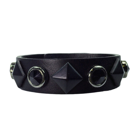 Stud & Black Stone Leather Bracelet