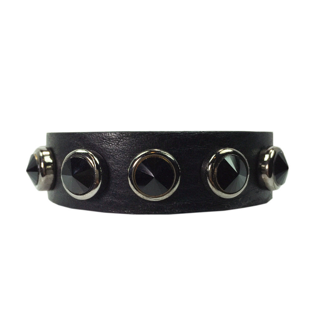 Black Stone Leather Bracelet - Bon Flare Ltd.