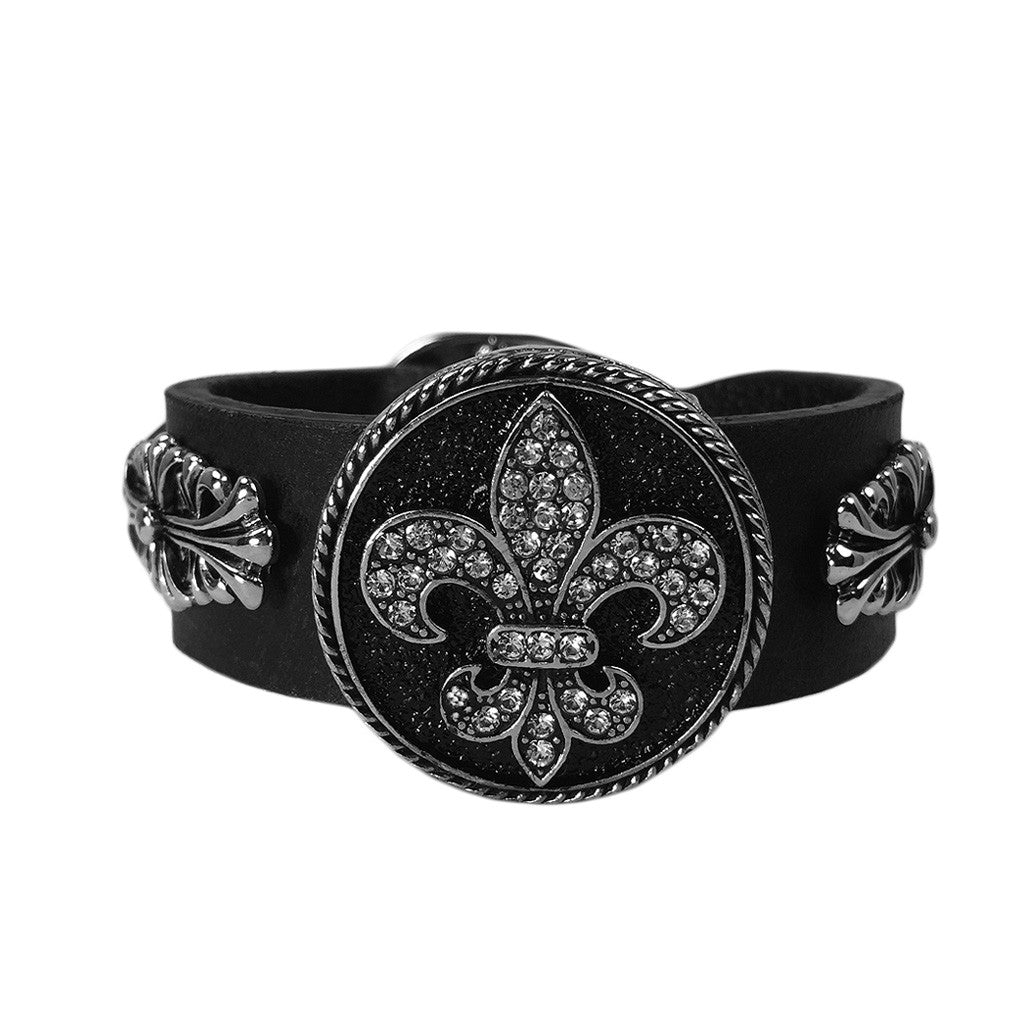 Fleur-De-Lis Crest Shield Leather Bracelet - Bon Flare Ltd.
