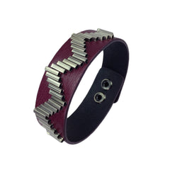Zig Zag Pattern Leather Band Bracelet - Bon Flare Ltd.
