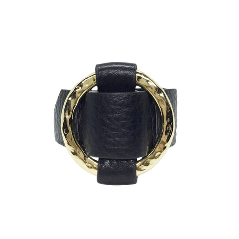 Round Gold-Plated Buckle Textured Leather Bracelet