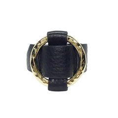 Round Gold-Plated Buckle Textured Leather Bracelet - Bon Flare Ltd.