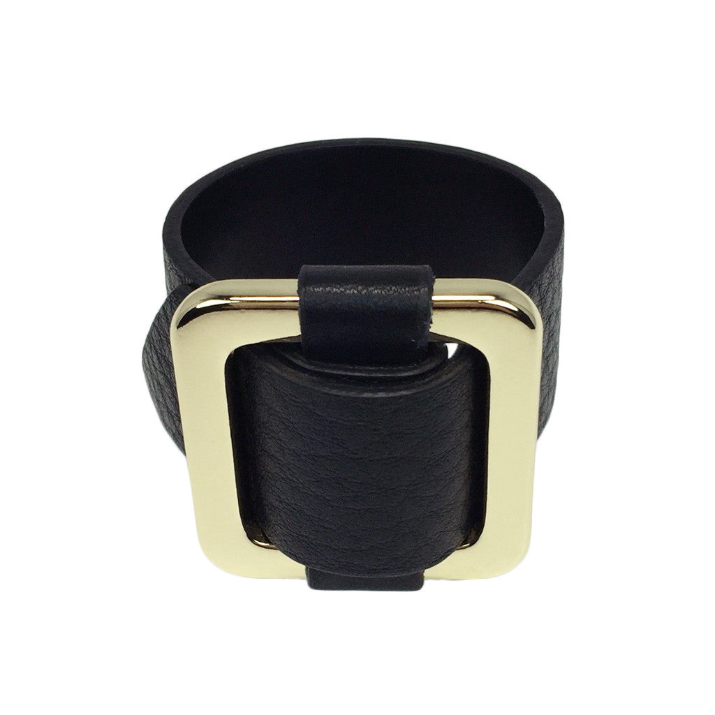 Square Gold-Plated Buckle Textured Leather Bracelet - Bon Flare Ltd.