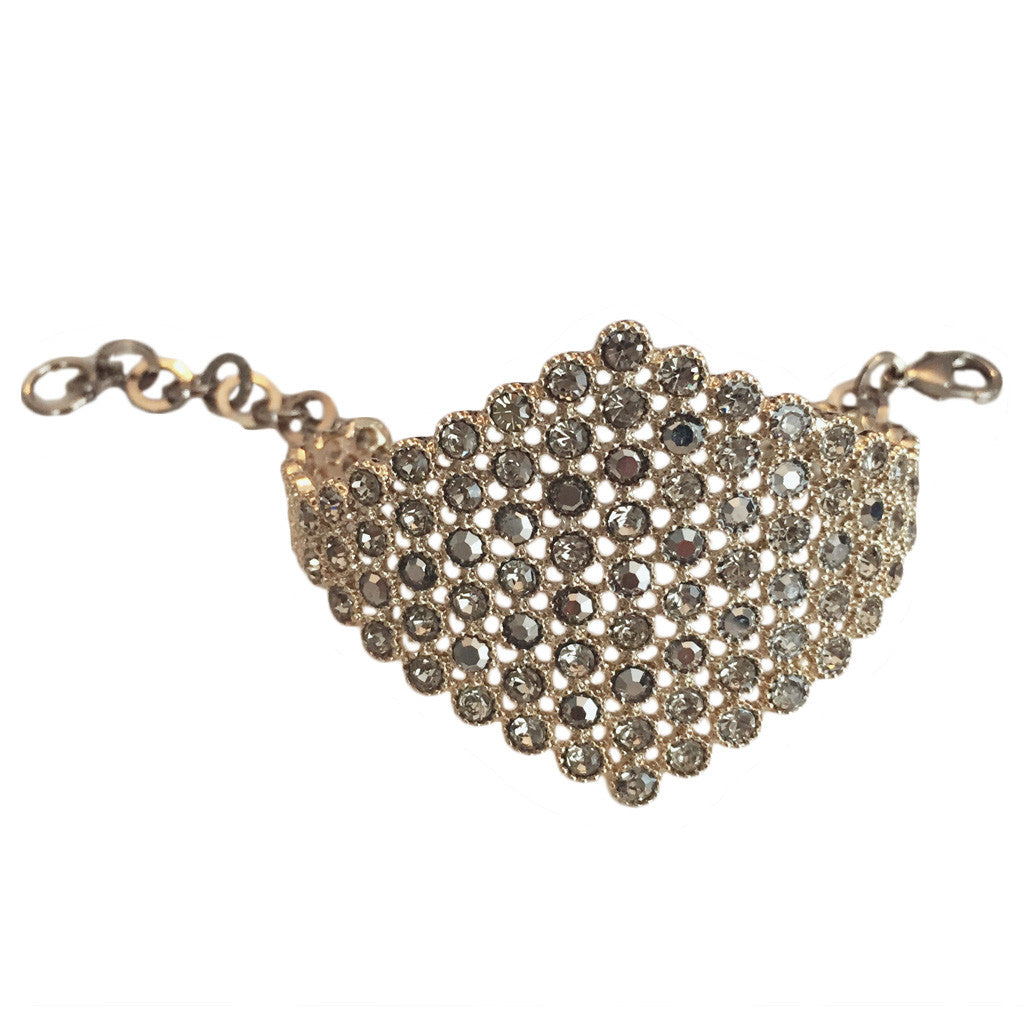 Antique Gold & Crystal Cuff With Chain - Bon Flare Ltd.