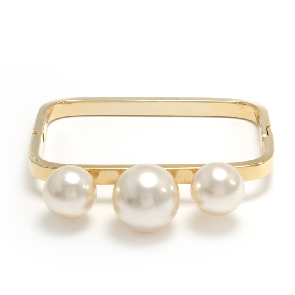 3-Pearl Retangle Bangle - Bon Flare Ltd.
