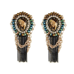 Crystal Drop Chains Earrings - Bon Flare Ltd.