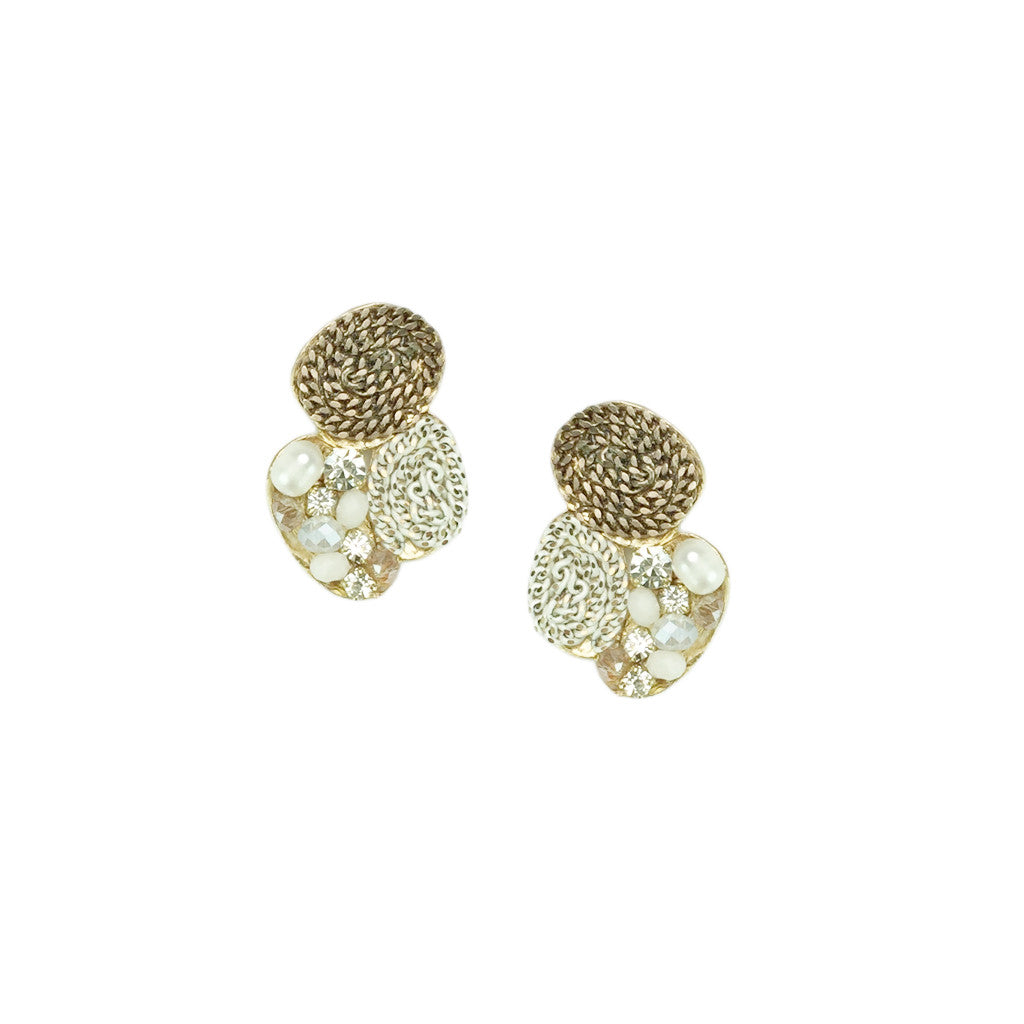 Chain & Pearl Oval Disc Earrings - Bon Flare Ltd.