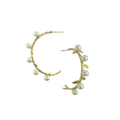 Pearls & Vine Golden Hoops - Bon Flare Ltd.