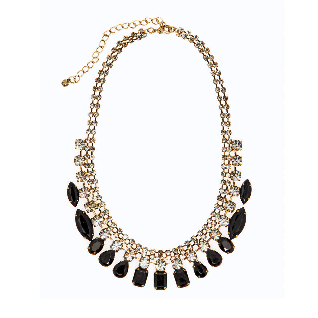 Crystal & Black Stone Fashion Necklace - Bon Flare Ltd.