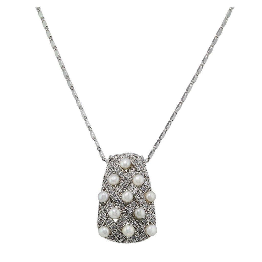 Basketweave Retangle Diamond With Pearls Pendant - Bon Flare Ltd.