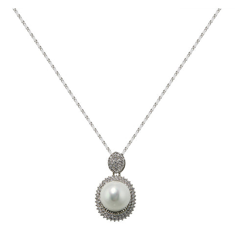 Pearl With Oval Diamond Ring Pendant