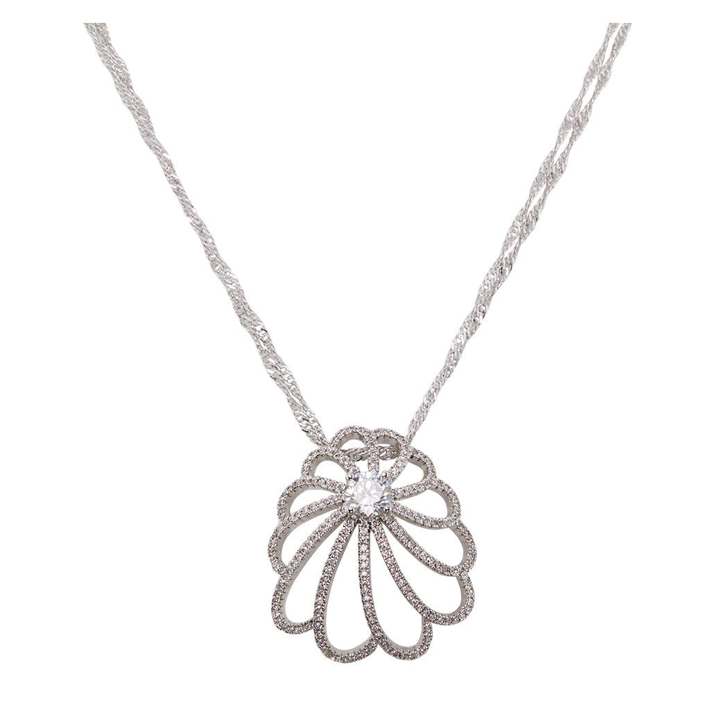 Flower With One Brilliant Cut Diamond Pendant With Long Double Chain - Bon Flare Ltd.