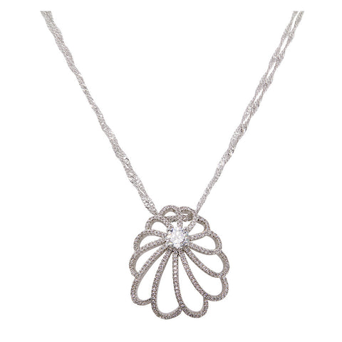 Flower With One Brilliant Cut Diamond Pendant With Long Double Chain