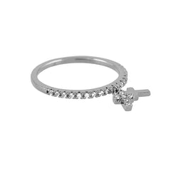 Micro Pave Diamond Eternity Stackable Ring With 2 Cross Charms - Bon Flare Ltd.