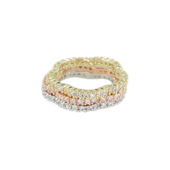 Flower Shaped Edge Diamond Eternity Stackable Ring - Bon Flare Ltd.