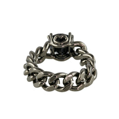Pewter Chain Ring With Black Stone - Bon Flare Ltd.