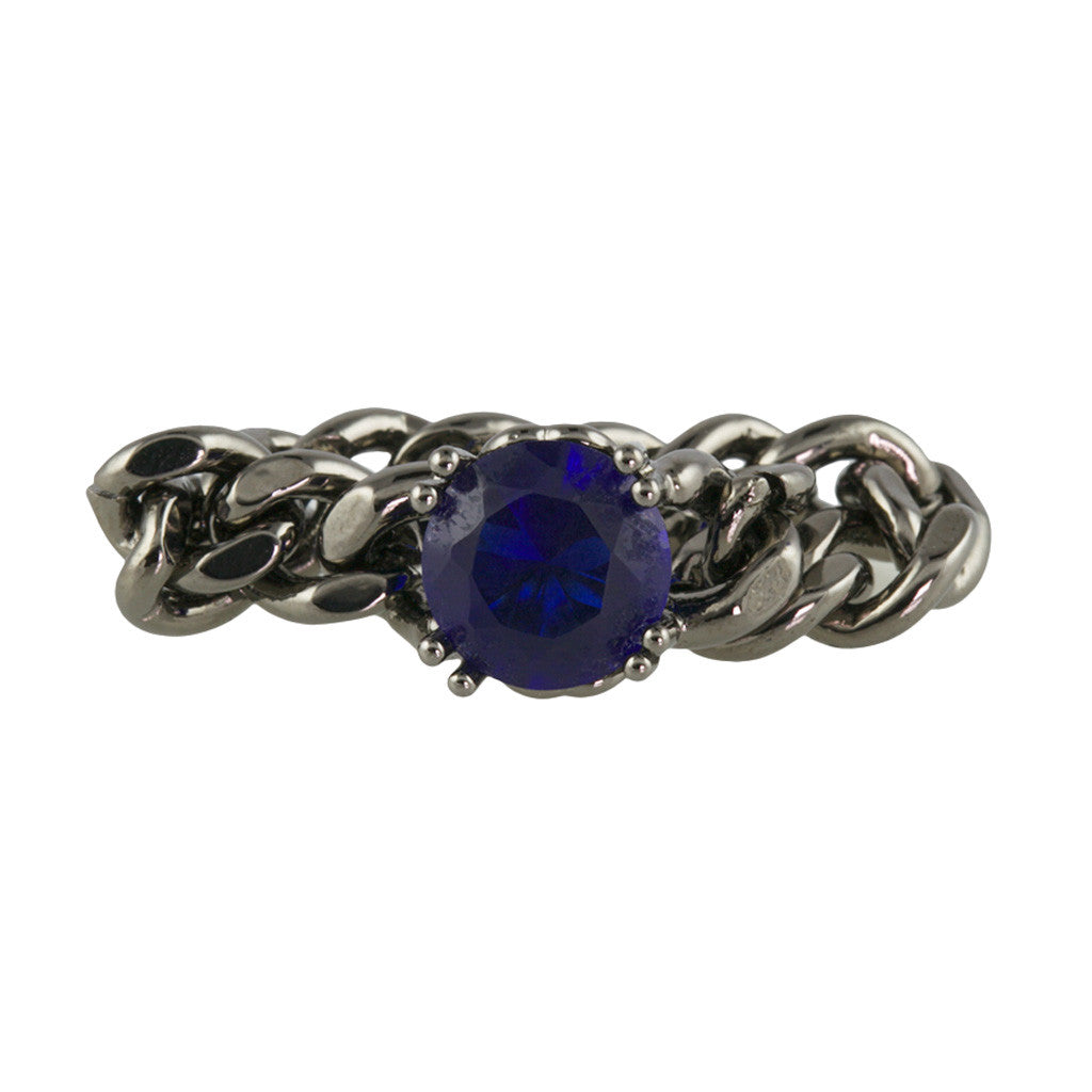 Pewter Chain Ring With Sapphire Stone - Bon Flare Ltd.