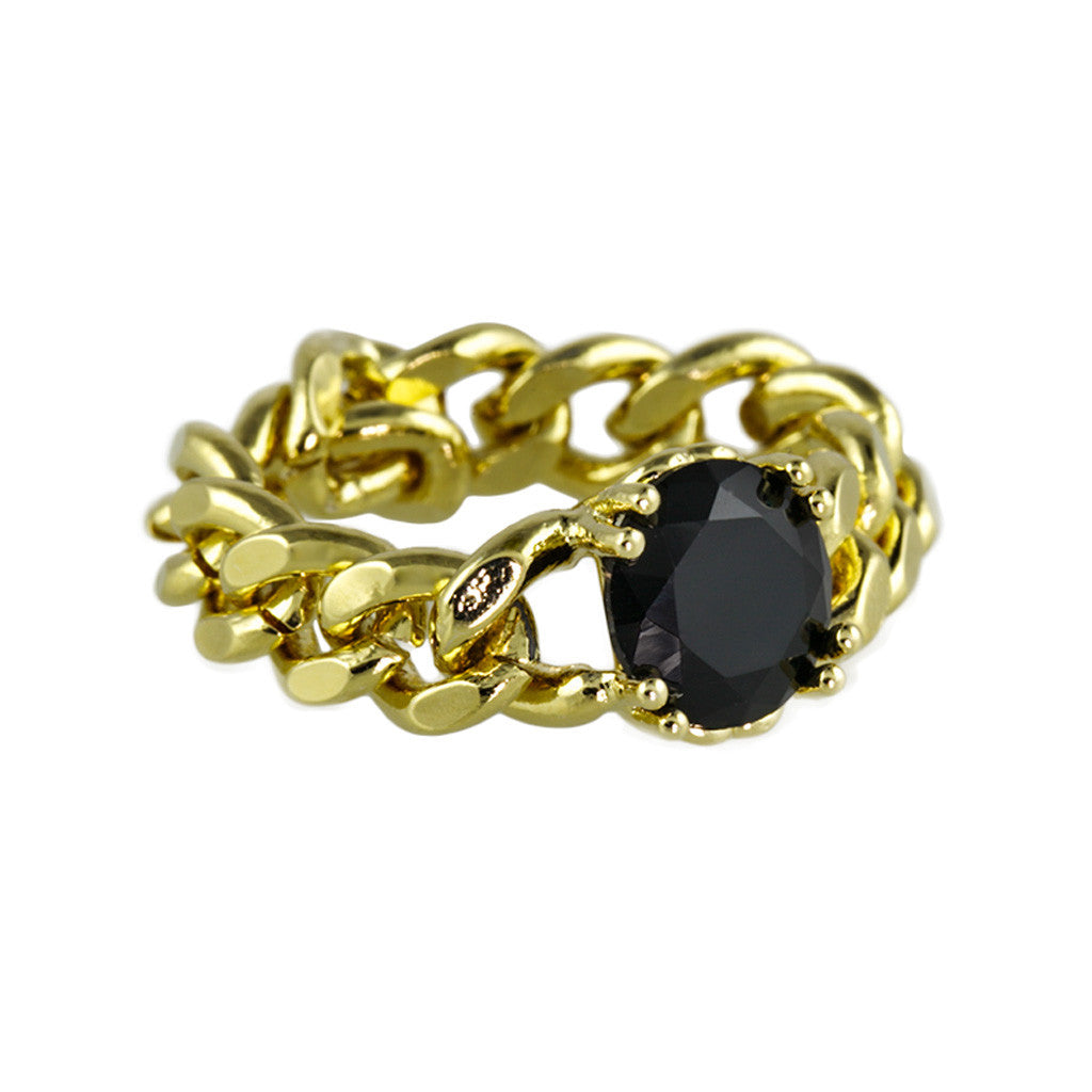 Gold Chain Ring With Black Stone - Bon Flare Ltd.