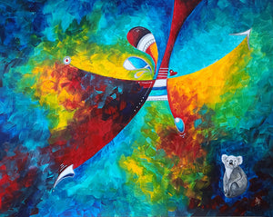 """World on Fire"" Original Abstract Conservation Koala Painting by Megan Duncanson (19""x24"")"