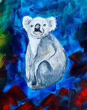 "Load image into Gallery viewer, ""World on Fire"" Original Abstract Conservation Koala Painting by Megan Duncanson (19""x24"")"