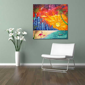 """Miami Beach Life"" Original Acrylic Tropical Abstract Painting by Megan Duncanson (48""x48"")"