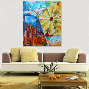 """Living the Dream"" Original Acrylic Tropical Abstract Martini Painting by Megan Duncanson (60""x72"")"