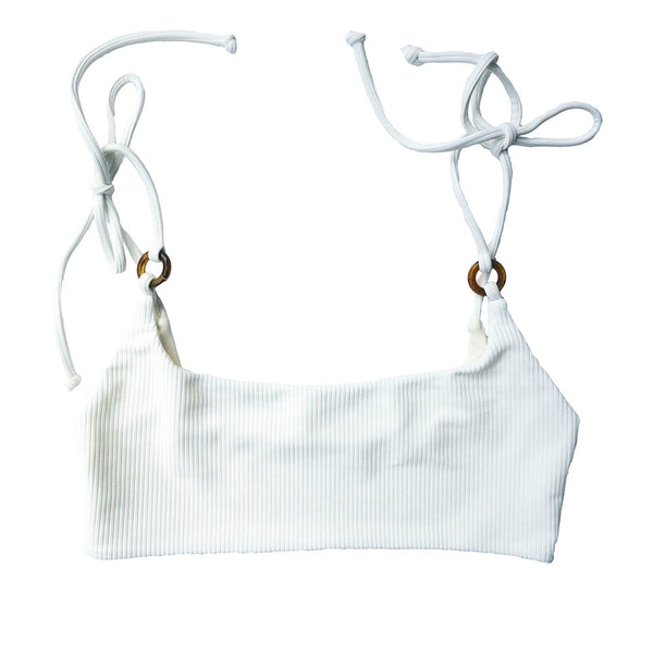 Lima bikini top with tie shoulder in ribbed foam.  Summer Label Swimwear - Summer bikinis for all year long