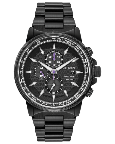 Men's Citizen Eco-Drive Black Panther Chronograph Black IP Watch with Black Dial