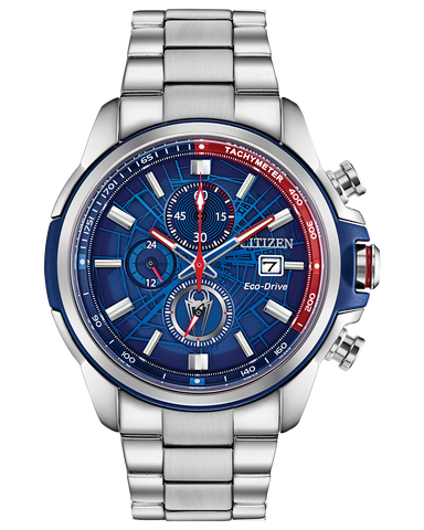 CItizen Marvel Spider Man Eco-Drive Blue Dial Stainless Steel Men's Watch