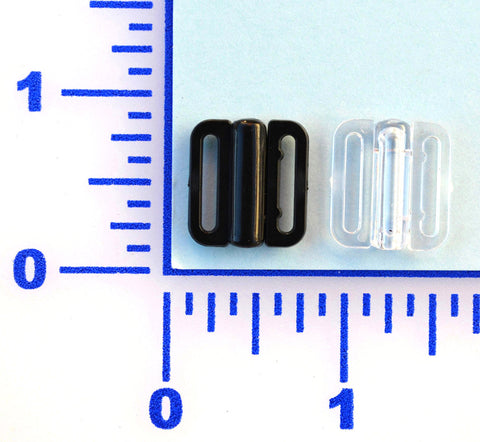 "1/2"" Black or Clear Plastic Side Clasp (Barrel Style) - 12 Pack"