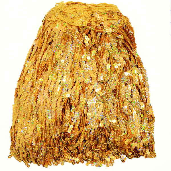 "12"" Gold Holographic Sequin Fringe"