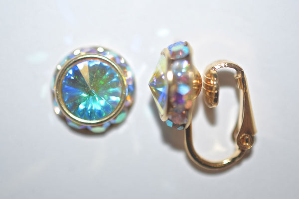 12MM Gold Clip On Earrings With A.B. Crystals Around An Austrian Rivoli Crystal - 26 Colors Available
