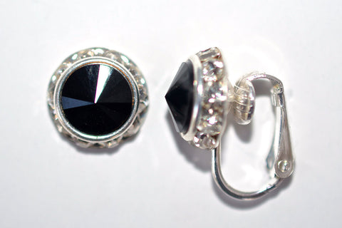 12MM Silver Clip On Earrings With Clear Crystals Around An Austrian Rivoli Crystal - 26 Colors Available