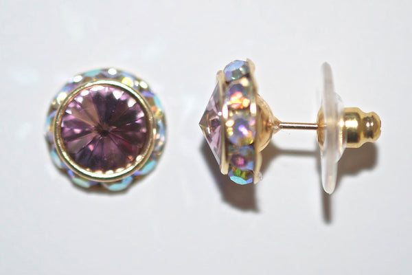 12MM Gold Earrings With A.B. Crystals Around An Austrian Rivoli Crystal - Gold Plated Posts - 26 Colors Available