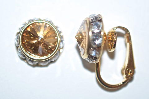 12MM Gold Clip On Earrings With Clear Crystals Around An Austrian Rivoli Crystal - 26 Colors Available