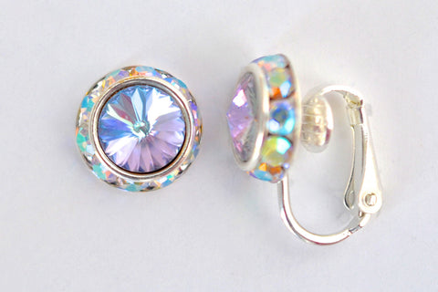 12MM Silver Clip On Earrings With A.B. Crystals Around An Austrian Rivoli Crystal - 26 Colors Available