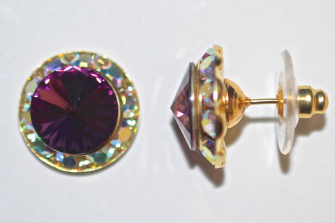 15MM Gold Earrings With A.B. Crystals Around An Austrian Rivoli Crystal - Gold Plated Posts - 30 Colors Available