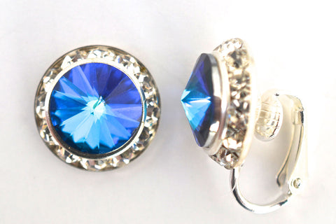 15MM Silver Clip On Earrings With Clear Crystals Around An Austrian Rivoli Crystal - 30 Colors Available