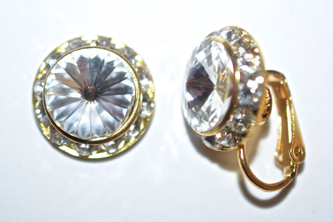 15MM Gold Clip On Earrings With Clear Crystals Around An Austrian Rivoli Crystal - 30 Colors Available