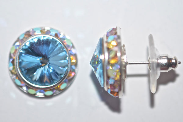 15MM Silver Earrings With A.B. Crystals Around An Austrian Rivoli Crystal - Posts Are Silver Plated - 30 Colors Available