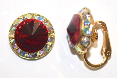 15MM Gold Clip On Earrings With A.B. Crystals Around An Austrian Rivoli Crystal - 30 Colors Available