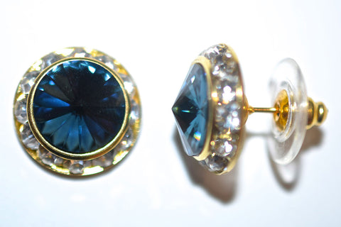 15MM Gold Earrings With Clear Crystals Around An Austrian Rivoli Crystal - Gold Plated Posts - 30 Colors Available